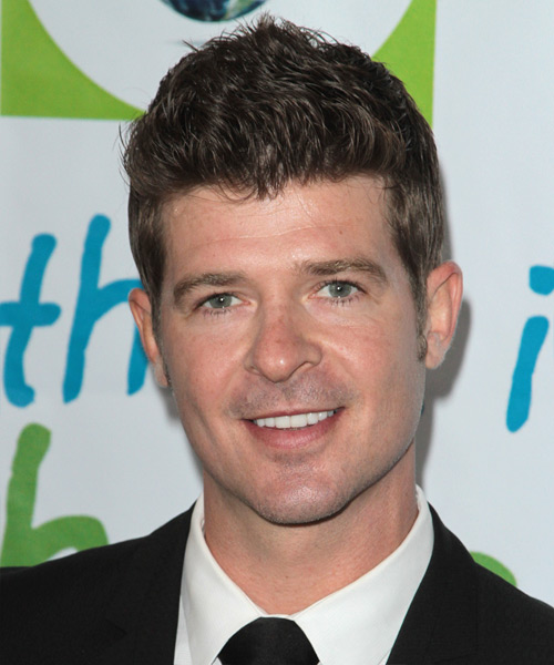 Robin Thicke Short Straight Hairstyle - Medium Brunette