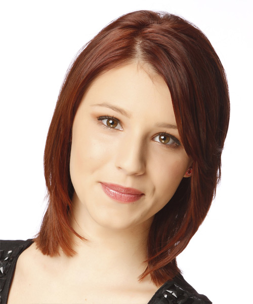Medium Straight Formal Hairstyle - Dark Red (Auburn)