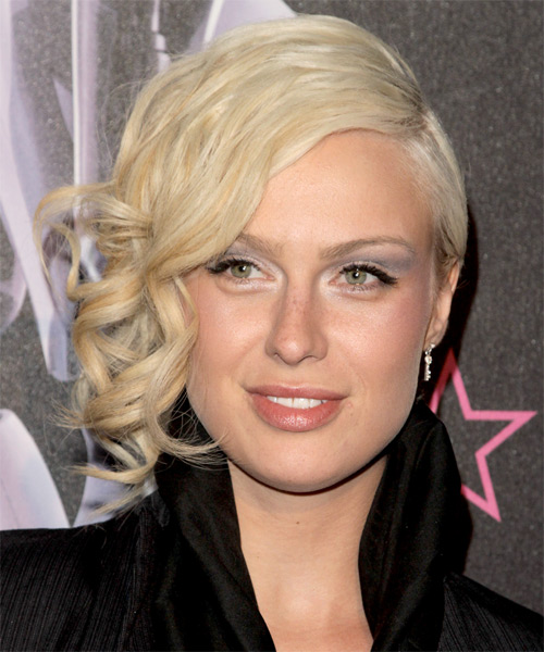 CariDee English Curly Formal Updo Hairstyle - Light Blonde (Platinum) Hair Color