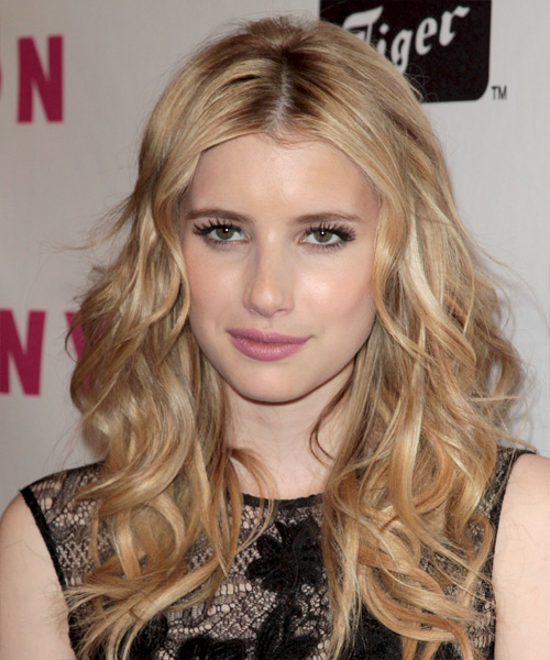 Emma Roberts Long Wavy Hairstyle - Medium Blonde (Champagne)
