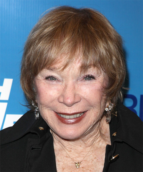 Shirley Maclaine Short Straight Casual Hairstyle with Layered Bangs - Light Red (Copper) Hair Color