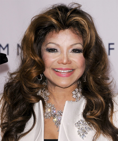 Latoya Jackson Long Wavy Formal Hairstyle - Dark Brunette Hair Color