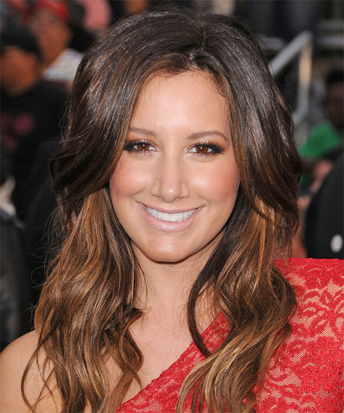 Ashley Tisdale Long Wavy Casual Hairstyle - Dark Brunette Hair Color