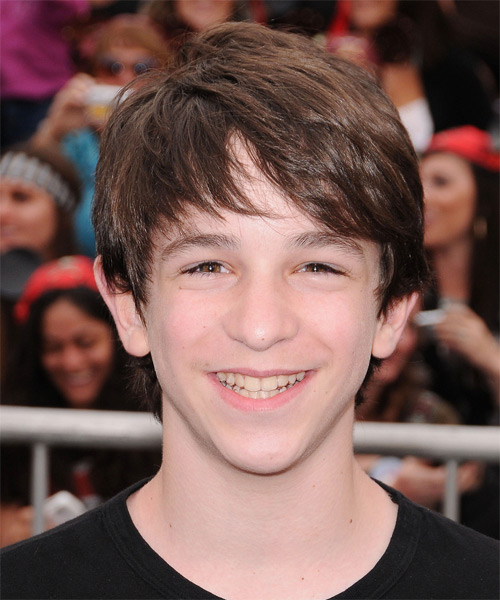 Zachary Gordon  Medium Straight Casual Hairstyle with Side Swept Bangs - Medium Brunette Hair Color