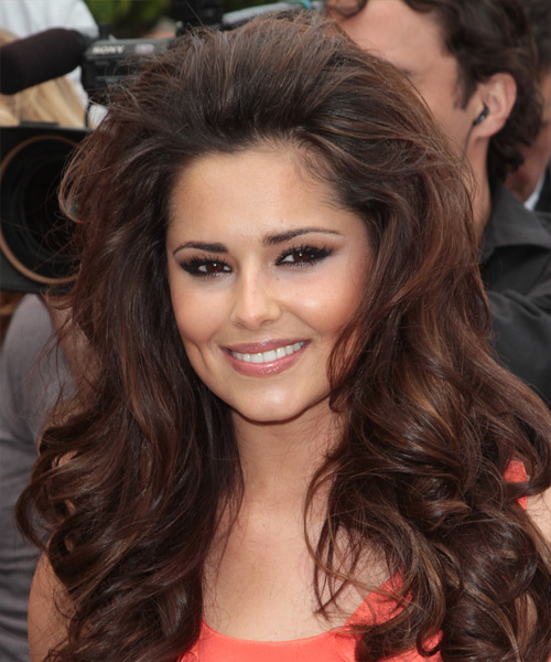 Cheryl Cole Long Wavy Hairstyle - Medium Brunette (Chocolate)