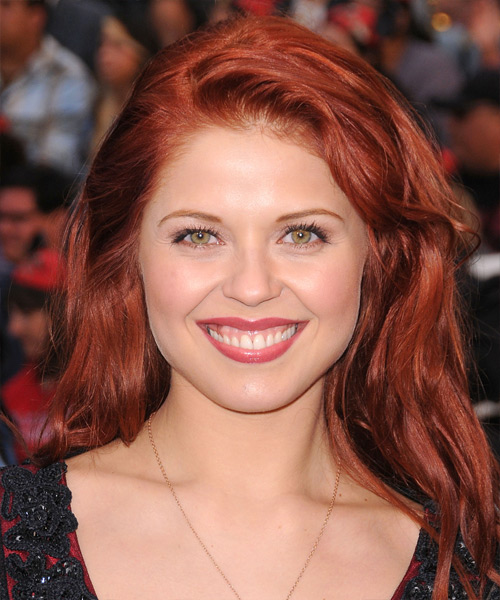 Anna Trebunskaya Long Wavy Casual Hairstyle - Medium Red (Bright) Hair Color