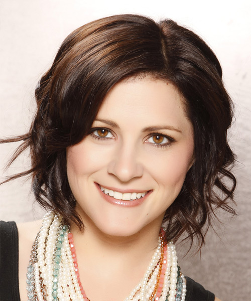 Short Wavy Casual Bob Hairstyle - Dark Brunette (Chocolate) Hair Color