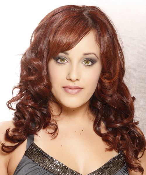 Long Curly Formal  with Side Swept Bangs - Medium Red