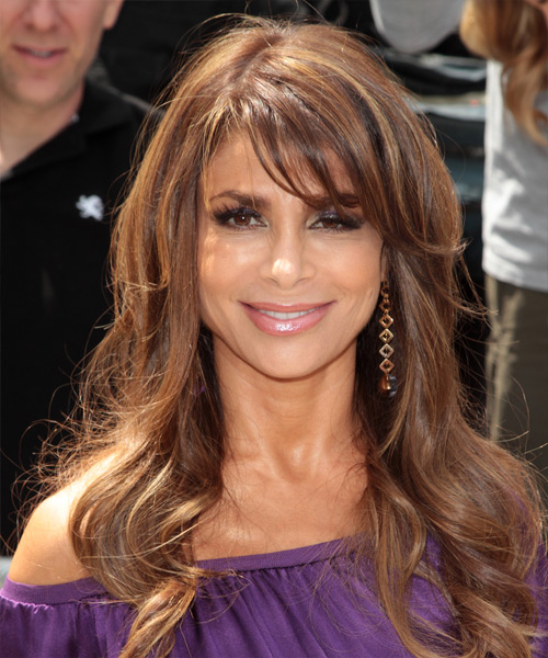 Paula Abdul Long Wavy Casual Hairstyle with Side Swept Bangs - Medium Brunette Hair Color