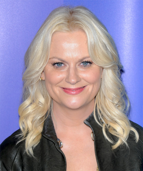Amy Poehler Medium Wavy Hairstyle - Light Blonde (Platinum)