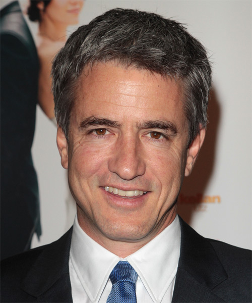 Dermot Mulroney Short Straight Hairstyle - Black (Salt and Pepper)