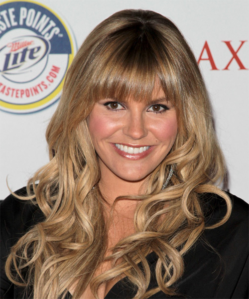 Grace Potter Long Wavy Casual Hairstyle with Blunt Cut Bangs - Dark Blonde Hair Color