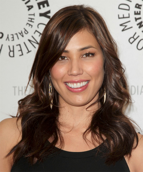 Michaela Conlin Long Wavy Casual Hairstyle - Dark Brunette Hair Color