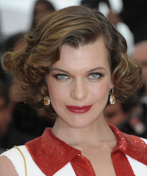 Milla Jovovich Short Curly Formal Hairstyle - Light Brunette Hair Color