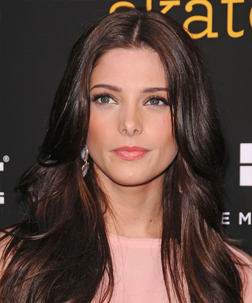 Ashley Greene Long Straight Casual Hairstyle - Dark Brunette (Chocolate) Hair Color