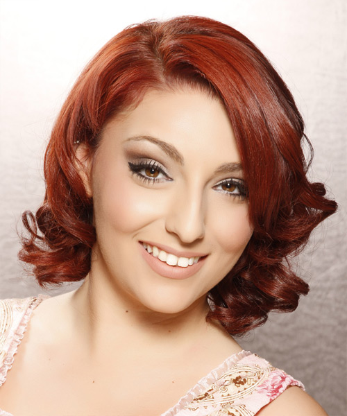 Medium Curly Formal Hairstyle - Dark Red (Bright) Hair Color