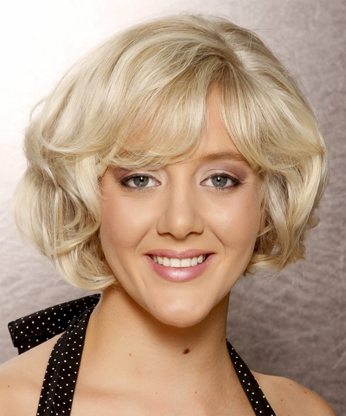 Short Wavy Formal Hairstyle with Side Swept Bangs - Light Blonde (Platinum) Hair Color