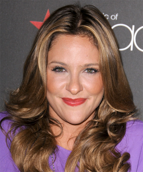 Jill Wagner Long Wavy Formal Hairstyle - Light Brunette Hair Color
