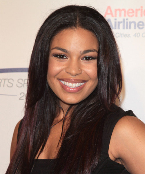 Jordin Sparks Long Straight Casual Hairstyle - Dark Brunette (Mocha) Hair Color