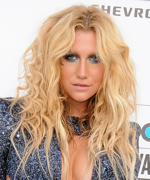 Kesha Long Curly Alternative Hairstyle - Medium Blonde (Golden) Hair Color