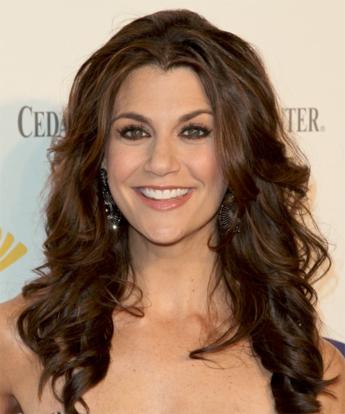 Samantha Harris Long Wavy Formal Hairstyle - Medium Brunette Hair Color