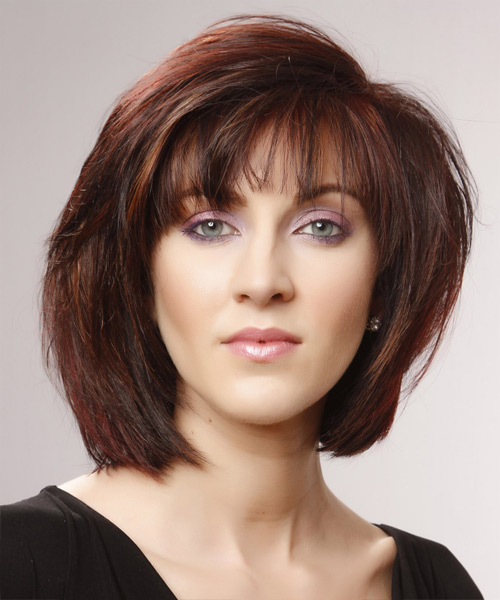 Medium Straight Casual Hairstyle - Medium Red (Mahogany) Hair Color