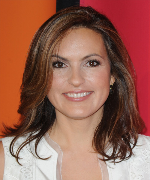 Mariska Hargitay Medium Straight Hairstyle - Medium Brunette (Auburn)