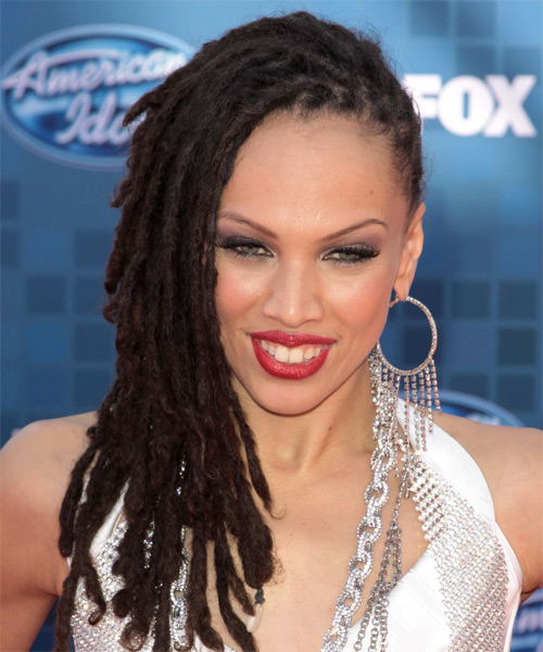 Naima Adedapo Long Curly Emo Hairstyle - Dark Brunette