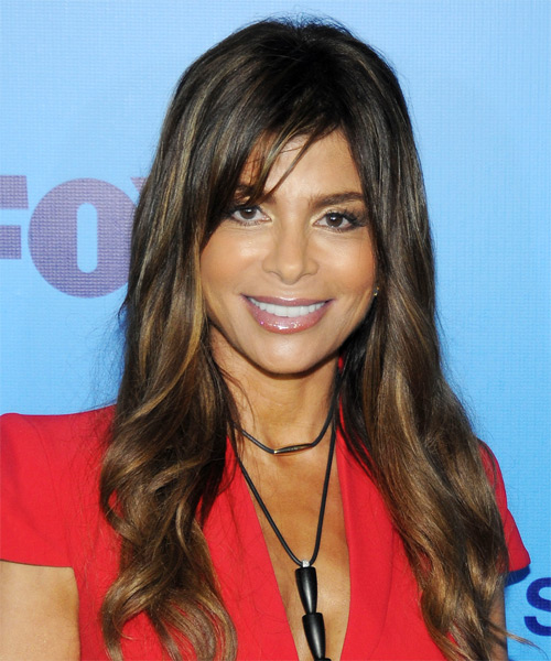 Paula Abdul Long Wavy Casual Hairstyle with Side Swept Bangs - Dark Brunette Hair Color