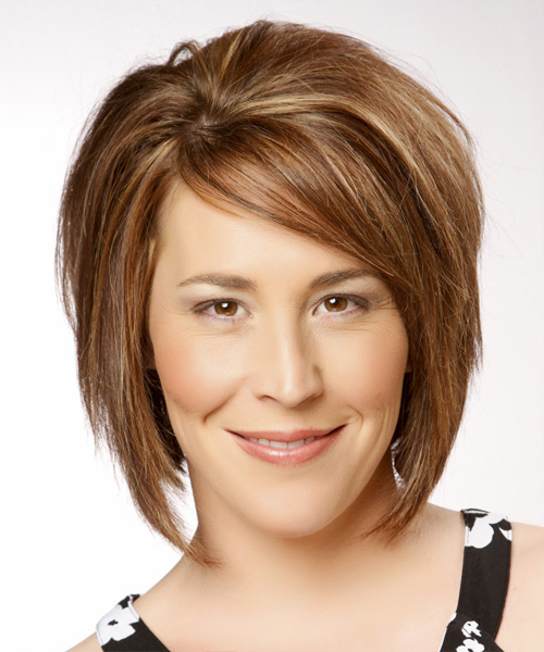Medium Straight Formal Bob Hairstyle with Side Swept Bangs - Medium Brunette (Copper) Hair Color