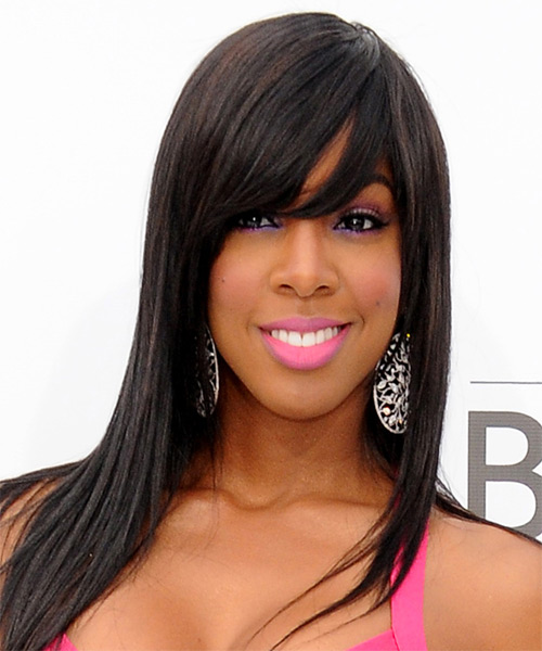 Kelly Rowland Long Straight Hairstyle - Dark Brunette