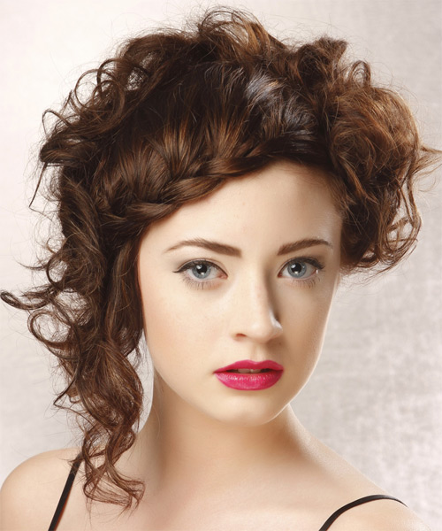 Formal Curly Braided Updo Hairstyle - Medium Brunette (Mocha)