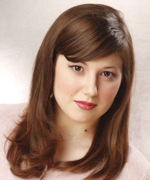 Long Straight Formal Hairstyle with Side Swept Bangs - Medium Brunette (Chestnut) Hair Color