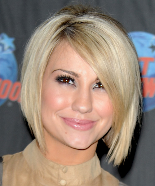 chelsea kane hairstyle medium bob hair bangs swept side blonde hairstyles straight formal light views front short haircut cut length