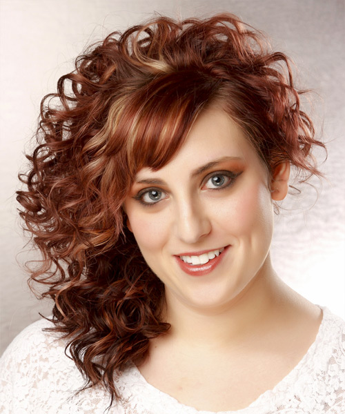 Medium Curly Formal Hairstyle - Medium Red