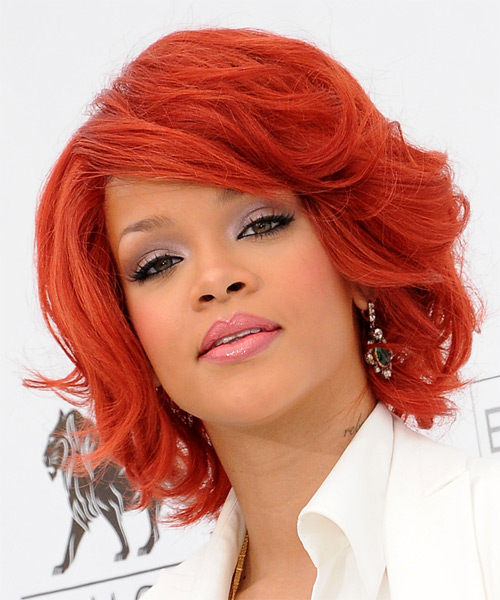 Rihanna Medium Wavy Formal Hairstyle with Side Swept Bangs - Medium Red Hair Color