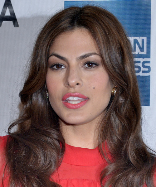 Eva Mendes Long Wavy Casual Hairstyle - Medium Brunette (Chocolate) Hair Color