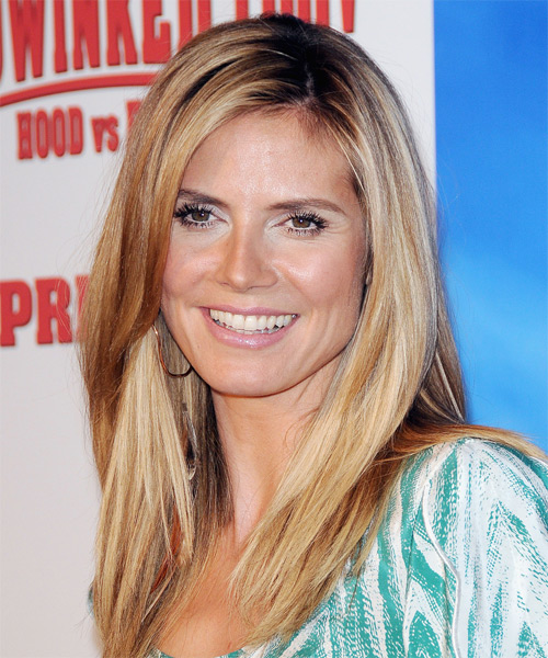 Heidi Klum Long Straight Casual Hairstyle - Dark Blonde Hair Color