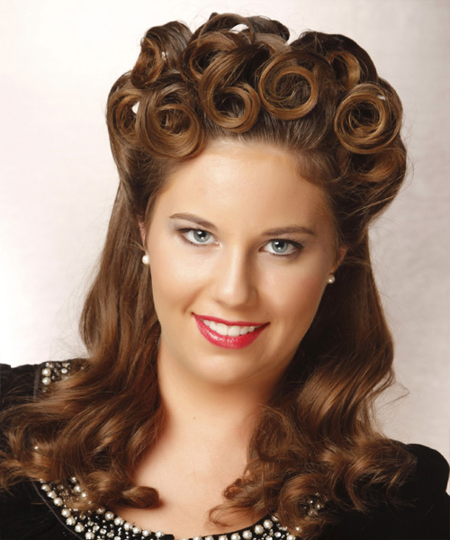 Curly Formal Half Up Hairstyle - Medium Brunette (Chestnut) Hair Color