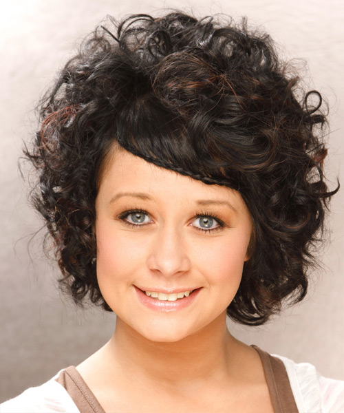 Short Curly Casual Braided Hairstyle - Black Hair Color