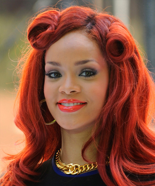 Rihanna Curly Formal Half Up Hairstyle - Medium Red (Bright) Hair Color