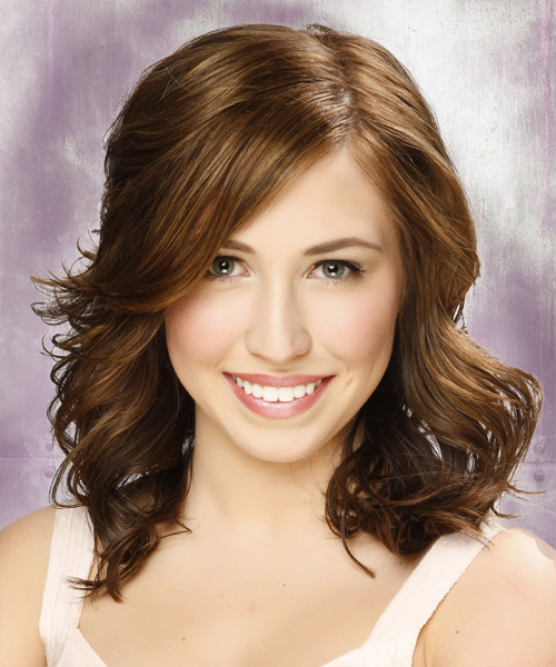 Medium Wavy Casual Hairstyle with Side Swept Bangs - Light Brunette Hair Color