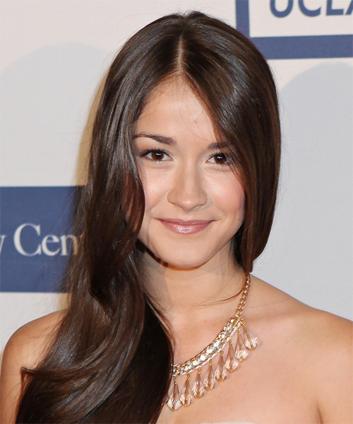 Mariah Buzolin Long Straight Formal Hairstyle - Medium Brunette (Chocolate) Hair Color