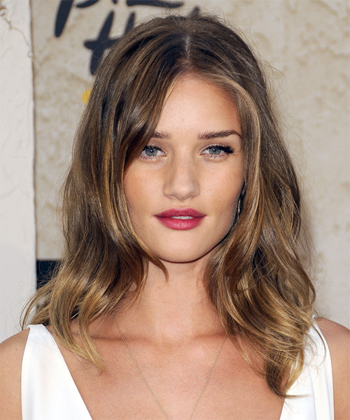Rosie Huntington-Whiteley  Medium Wavy Casual Hairstyle - Light Brunette Hair Color