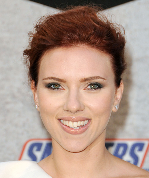 Scarlett Johansson Curly Casual Updo Hairstyle - Dark Red Hair Color