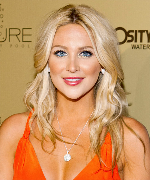 Stephanie Pratt Long Wavy Casual Hairstyle - Light Blonde Hair Color