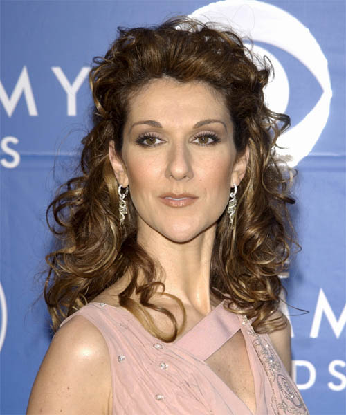 Celine Dion Curly Formal Half Up Hairstyle
