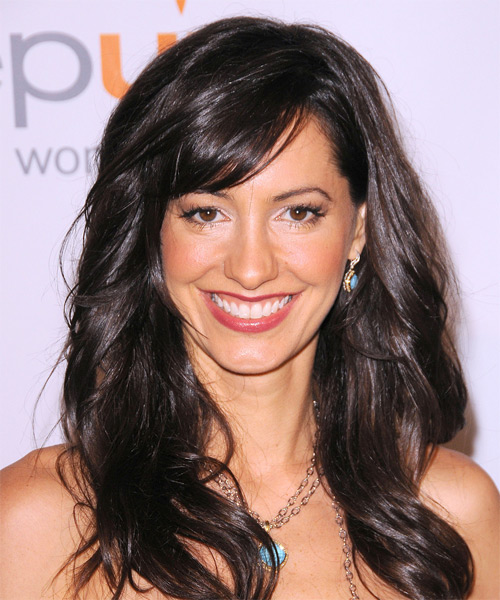 Charlene Amoia Long Wavy Hairstyle - Dark Brunette