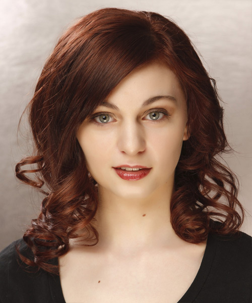 Medium Curly Formal Hairstyle - Dark Red (Mahogany) Hair Color