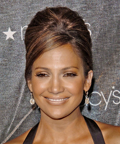 Jennifer Lopez - Formal Updo Medium Straight Hairstyle
